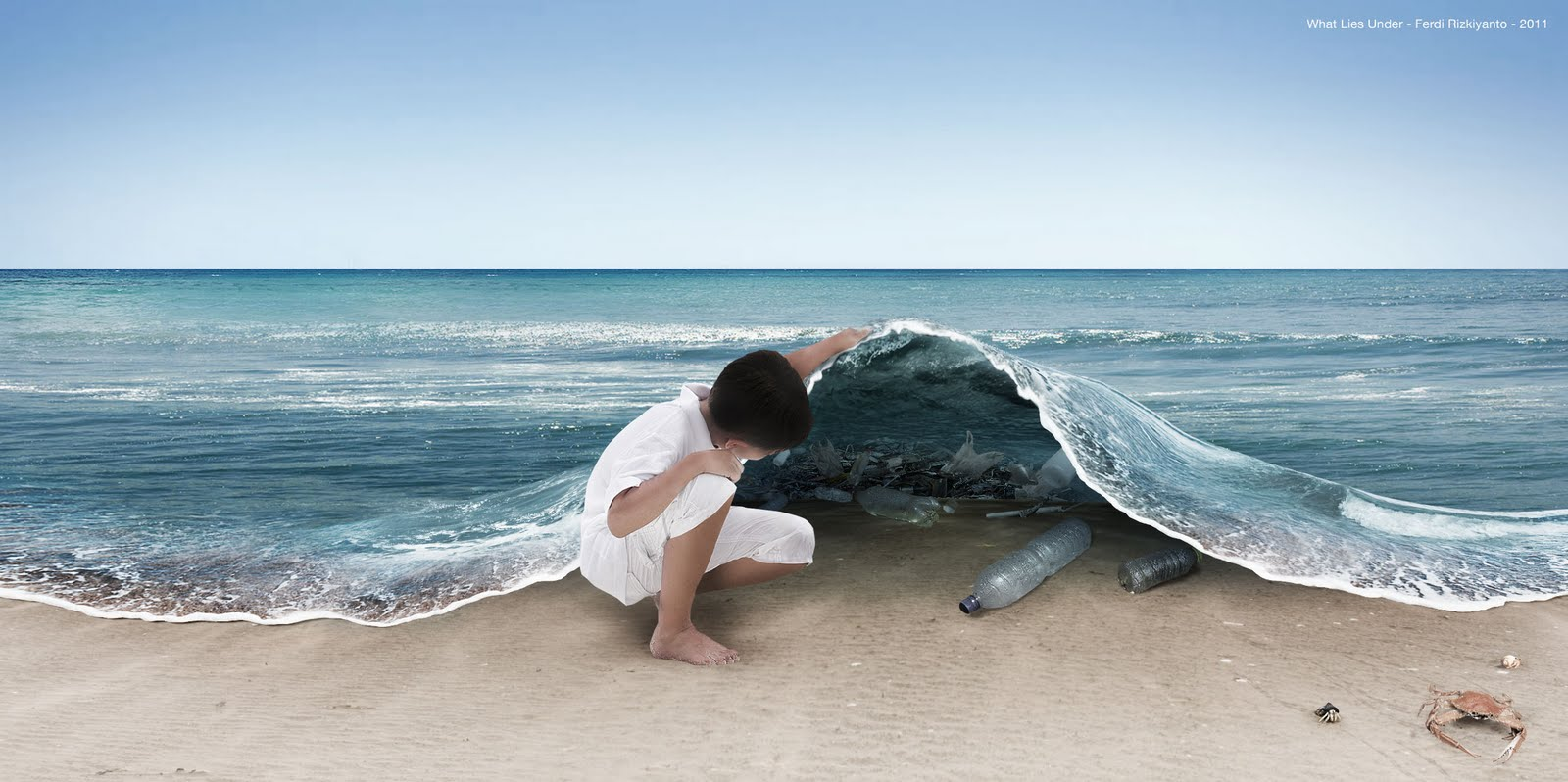 What Lies Under, rubbish under sea, child lifts sea