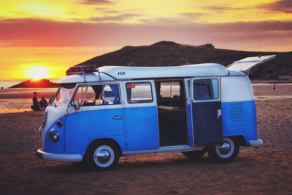 VW Campervan Cornwall Sunset