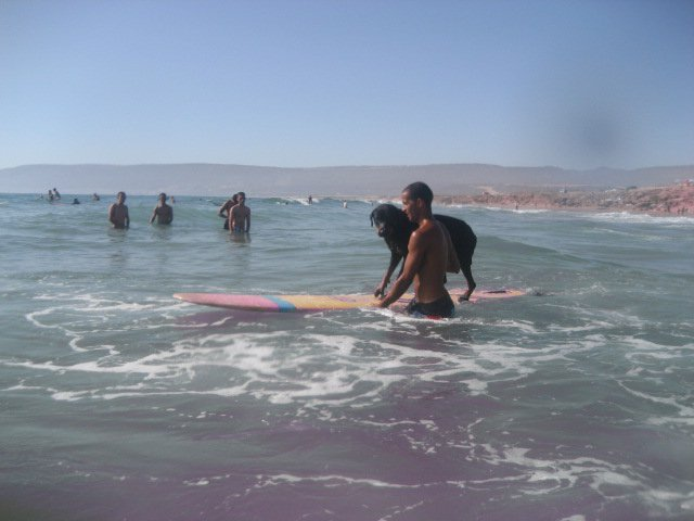 Morocco surfing dog